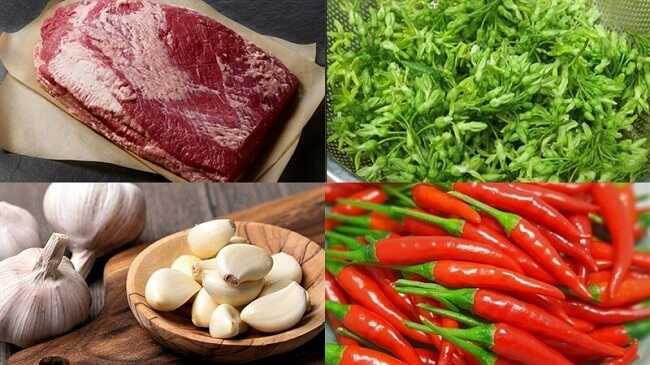 Nguyên liệu đơn giản nấu thịt bò