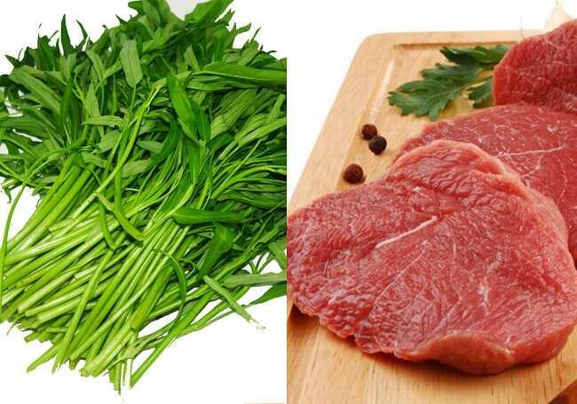 món ngon từ thịt bò và rau muống